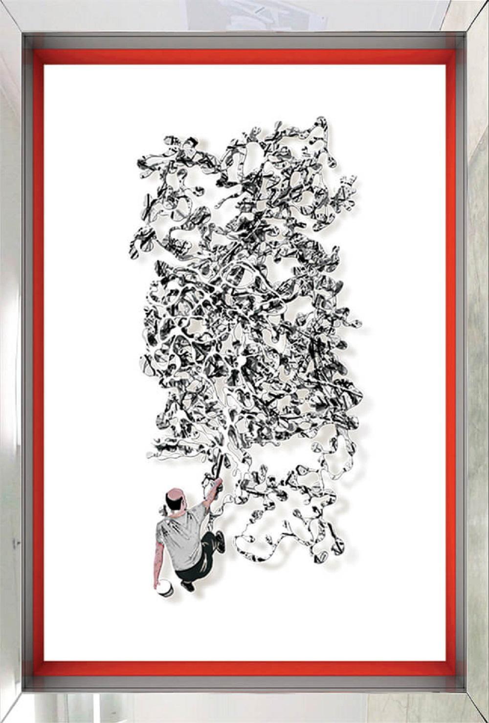 Homage to Jackson Pollock – B&W - David Kracov - Eden Gallery