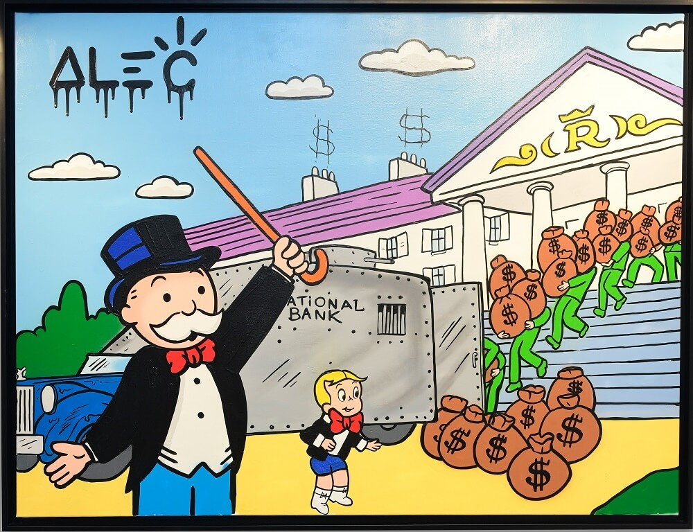 Monopoly Richie Loading Out Bank - Alec Monopoly - Eden Gallery