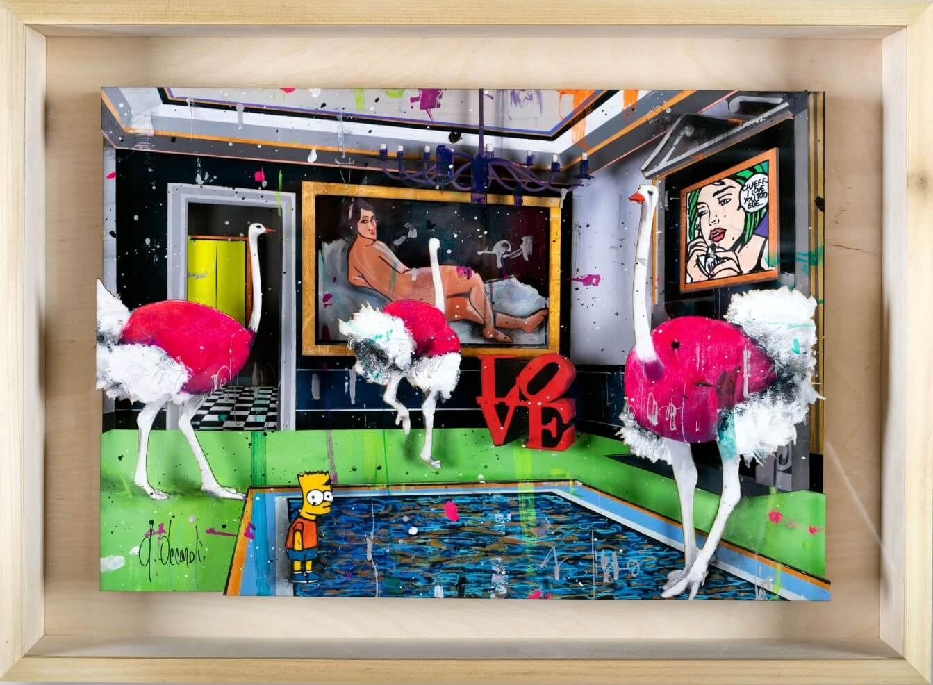 Ostriches Meeting-Papercut  - Angelo Accardi - Eden Gallery