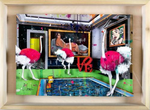 Ostriches Meeting-Papercut