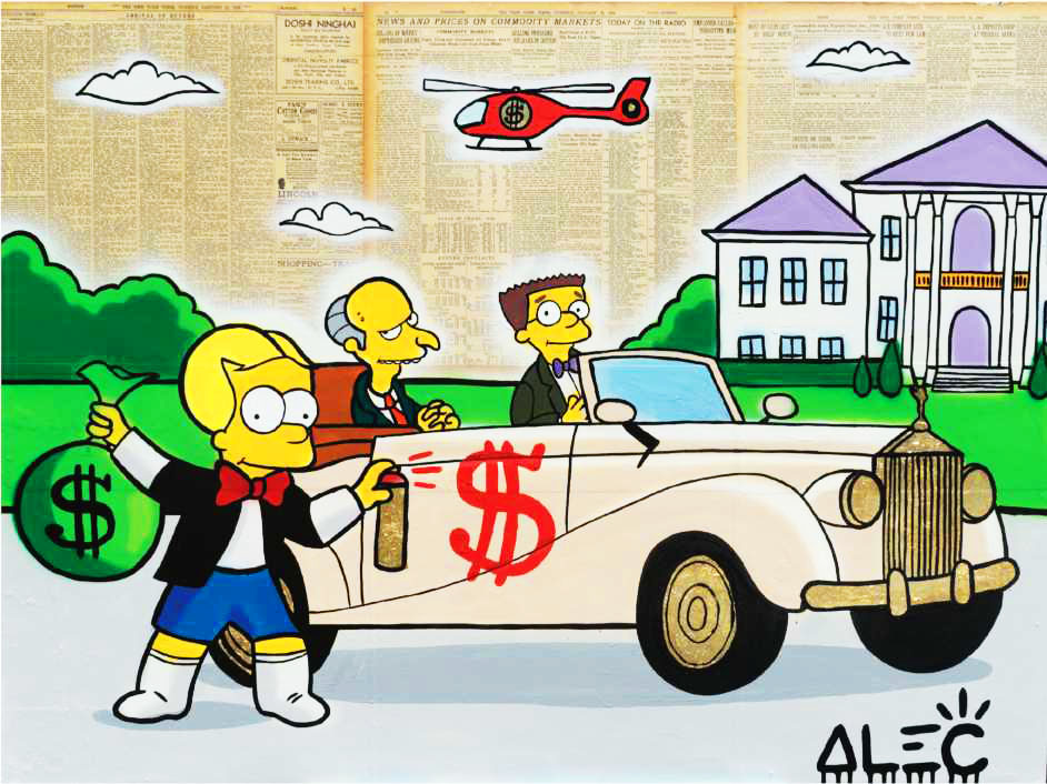 Bart Richie Tagging Mr Burns Car - Alec Monopoly - Eden Gallery