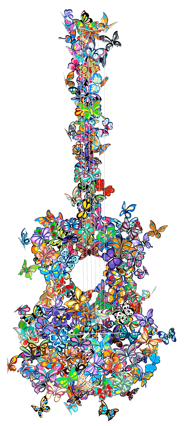Butterfly Guitar Making Beautiful Music - David Kracov - Eden Gallery