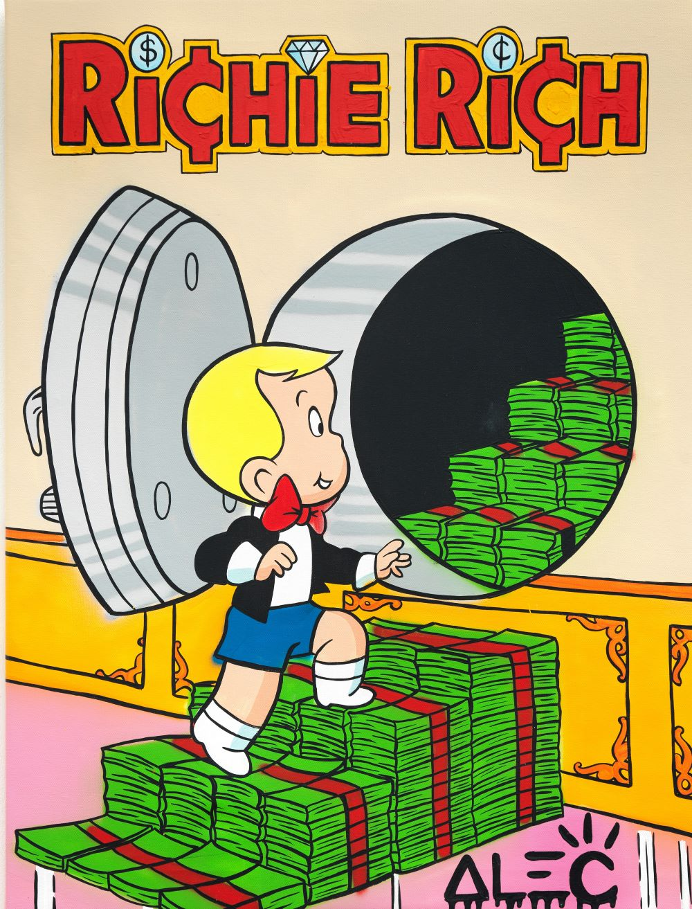 Richie opening safe with bills  - Alec Monopoly - Eden Gallery