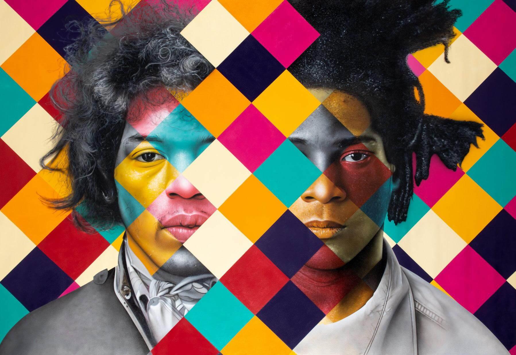 Clube 27 - Jimi Hendrix and Jean-Michel Basquiat - Eduardo Kobra - Eden Gallery