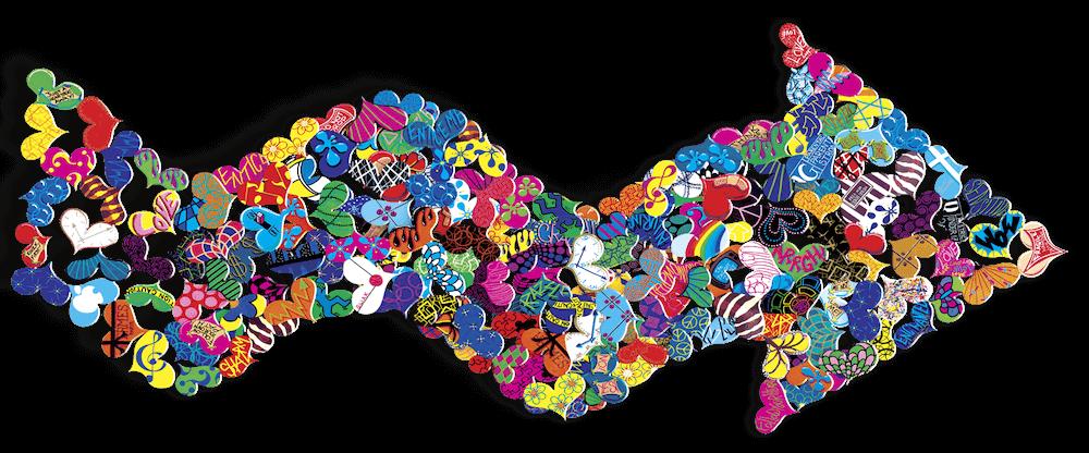 Follow Your Heart - Hearts in an Arrow - David Kracov - Eden Gallery