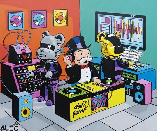 Monopoly Daft Punk Bearbrick Dj Studio Painting - Canvas - Alec Monopoly - Eden Gallery